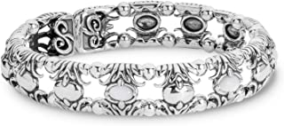 product image for Carolyn Pollack Sterling Silver White Mother of Pearl, Green Variscite or Blue Turquoise Gemstone Fleur de Lis Memory Wire Cuff Bracelet Size S, M or L