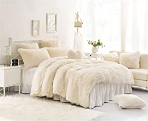 MOOWOO 4PCS Luxury Plush Fluffy Bedding Sets, 1 Faux Fur Duvet Cover + 1 Fleece Flannel Bed Sheet Skirt + 2 Furry Shaggy Pillow Sham, Zipper Closure and Ties (White, Full)