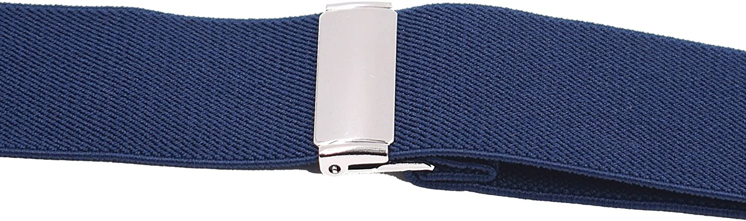 Adjustable X Back Elastic Strap with 4 Solid Straight Clips Suspenders for Men 1.4 inch Wide Navy