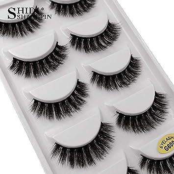 6169af3efe9 Amazon.com: mink eyelashes 3d mink lashes 5 pairs false eyelashes natural 3d  false lashes eyelash extension cilios maquiagem,G600: Beauty