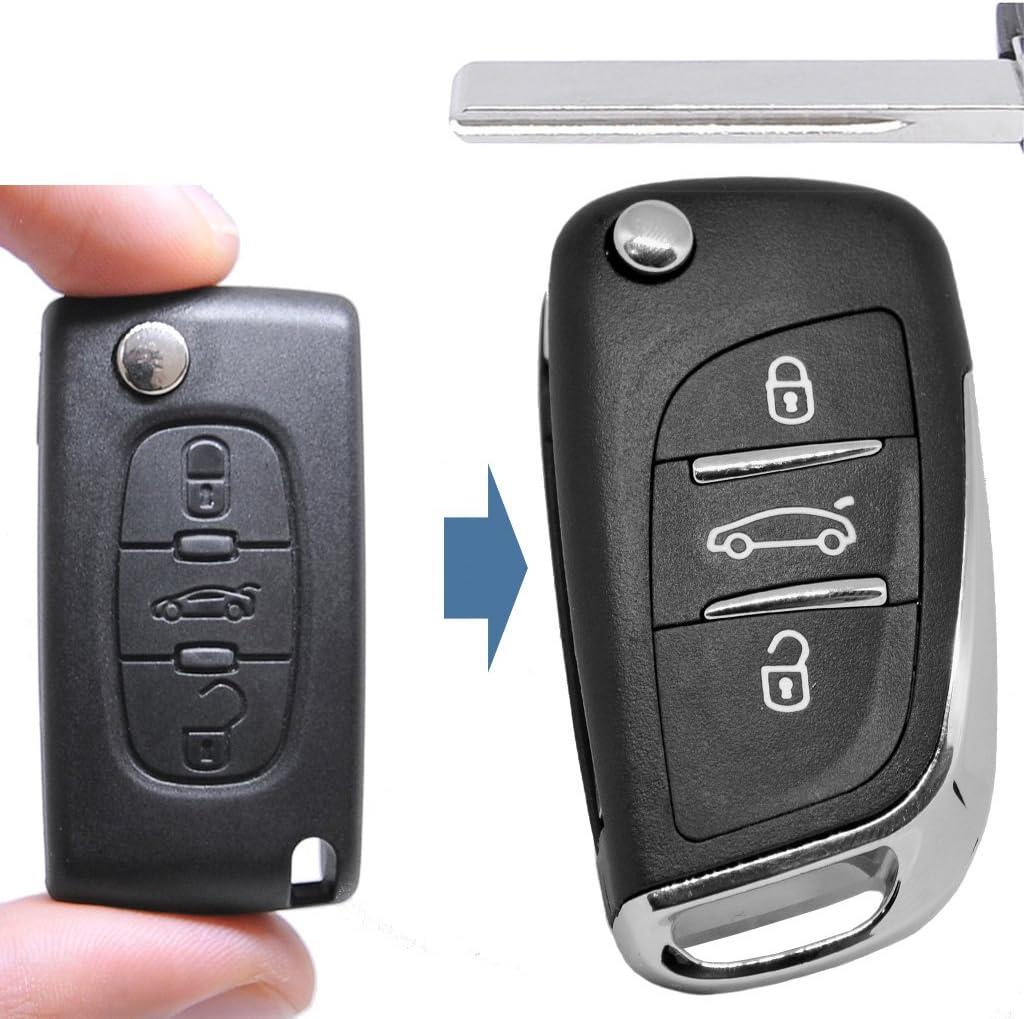Klapp Schlüssel Umbau Gehäuse Fernbedienung 3 Tasten Hu83 Rohling Für Citroen Peugeot Fiat