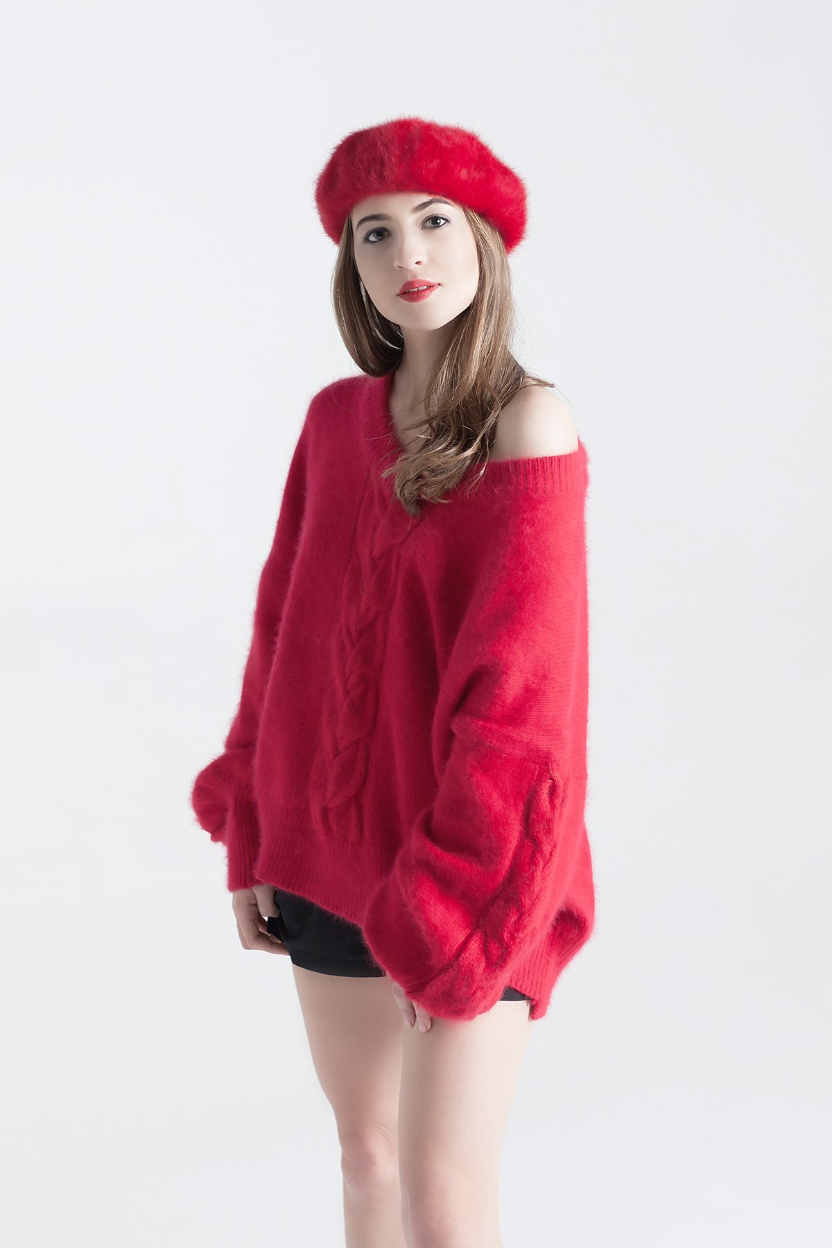 winter pullover - cozy sweater - fluffy sweater - wooly sweater - warm sweater - luxury wool pullover - red knit jumper - red - red knitted