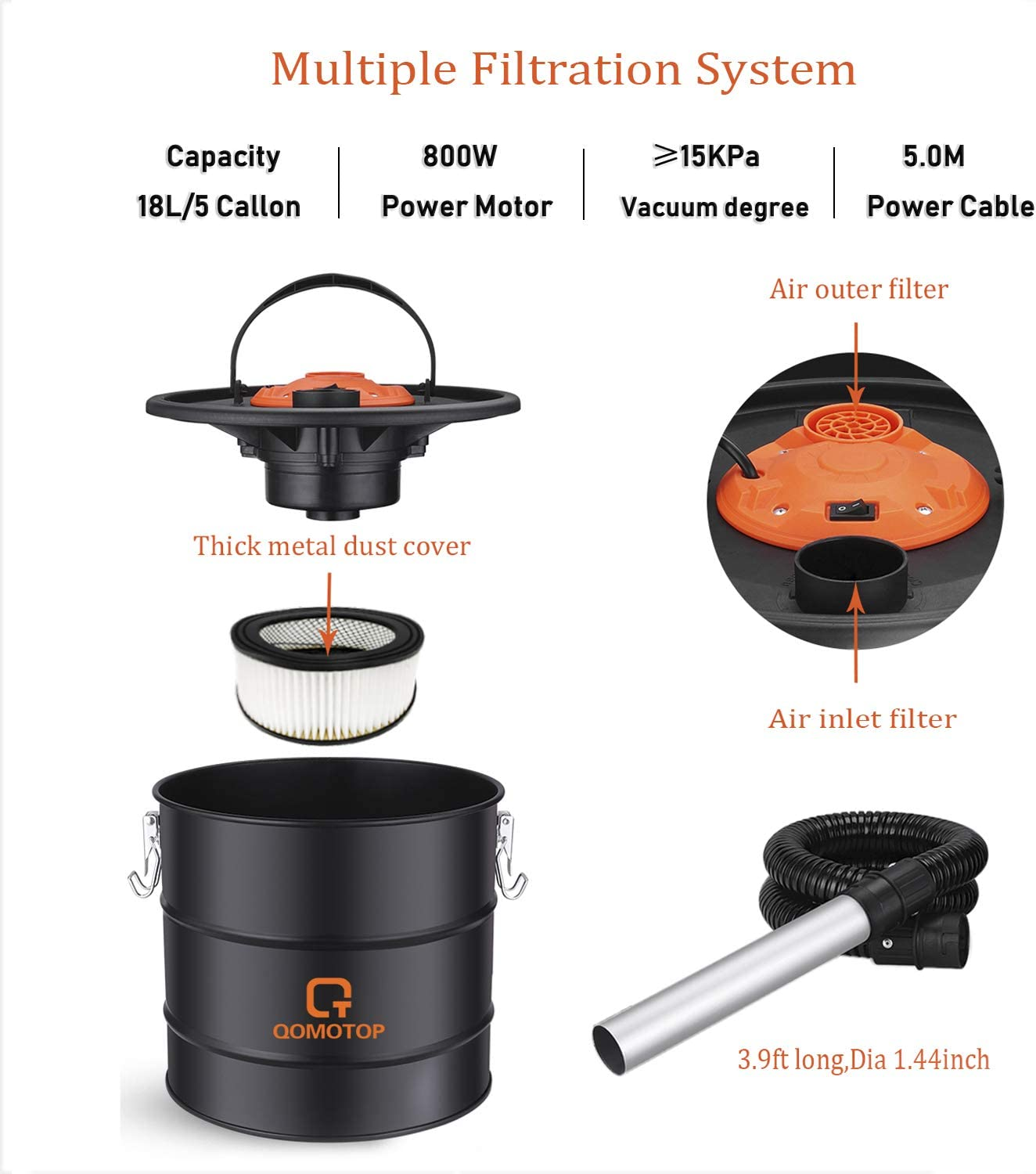 Fire Pit and Brazier BBQ Grill 800W Ash Vacuum Cleaner 5 Gallon Bagless 2 Filter System Dry Ash Collector Grill Vacuum with Metal Lined Hose Pellet Stove Designed for Fireplace Ash Vacuum