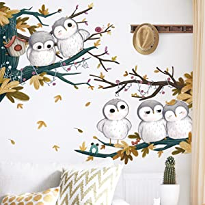 Owls on Branches Cartoon Wall Sticker, Removable Waterproof Vinyl Animal Flowers Decal Decor, Lovely Art Mural for Nursery Bedroom Kids Room Home Decoration