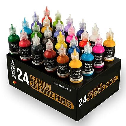 80d27f5b4fd8 ⭐24 Botellas de Pintura 3D Textil y Tejido - Aprieta sobre los Tubos (29mL)  para Extender Pintura para Ropa (Algodón) - Personaliza Camisetas, Ropa ...