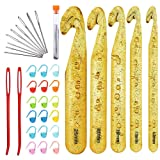 Huge Crochet Hook Set,9 Pieces Large-Eye Blunt Needles,12mm-25mm Large Size Yarn Crochet Hooks Needles with 20 Stitch Markers and 2 Tapestry Needle (Color: 36pcs)