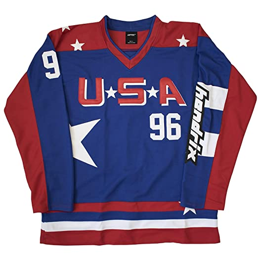 a4cd9bfdc Amazon.com  AIFFEE  96 USA Conway The Mighty Ducks Hockey Jersey Red ...