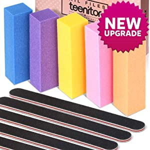 Teenitor Nail Files Buffer Shiner Polisher Professional Art Supplies Pedicure Manicure Tool 100/180 Grit 10pcs/Pack