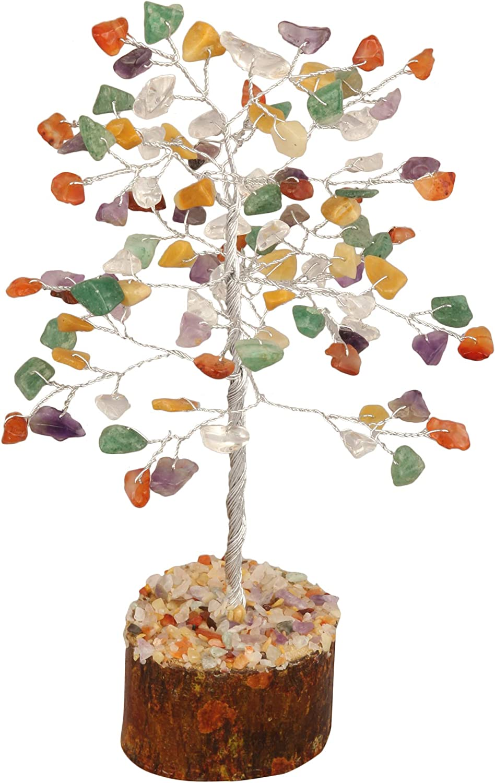 Zaicus Mix Chakra Gemstone Bonsai Feng Shui Money Crystal Tree of Life for Positive Energy Good Luck Chakra Balancing Spiritual Gift Enhance Home Office Decor Silver Wire 7-8 Inch