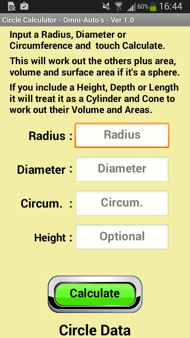 Amazon com: Circle Calculator: Appstore for Android