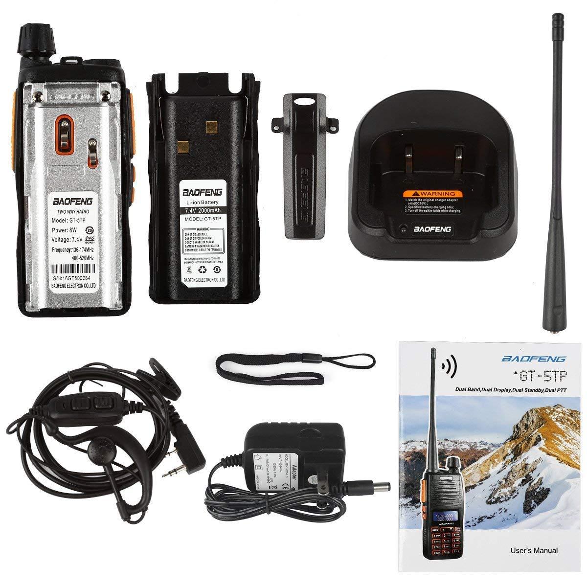 2000mAh Battery BaoFeng GT-5TP 8W//4W//1W Tri-Power UHF VHF Dual Band Amateur Ham Radio Handheld Two Way Radio Walkie Talkie with Earpiece Dual PTT