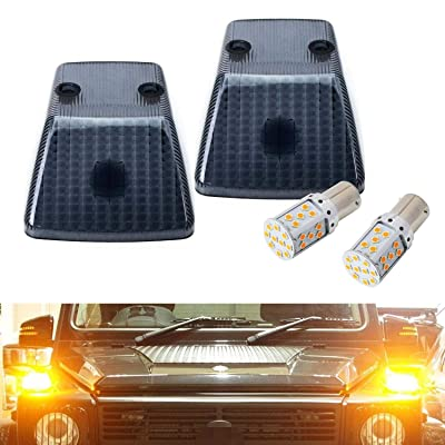 iJDMTOY Gloss Black Smoked Front Turn Signal Light Covers w/ Super Bright 7507 Error Free LED Bulbs Compatible With 1986-2020 Mercedes W463 G-Class G500 G550 G55 G63 G65: Automotive
