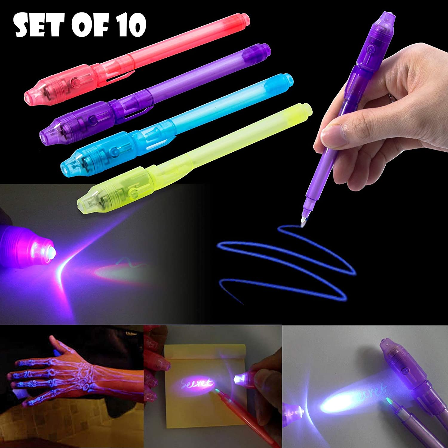 24 Spy Pen with UV Light Magic Marker Kid Pens for Secret Message and Party Favor Bag Goody Stuffer Invisible Ink Pen