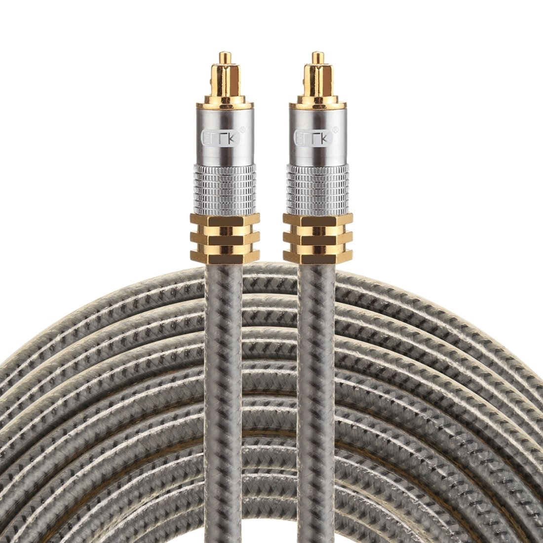 Optical Cables, EMK YL-A 8m OD8.0mm Gold Plated Metal Head Toslink Male to Male Digital Optical Audio Cable