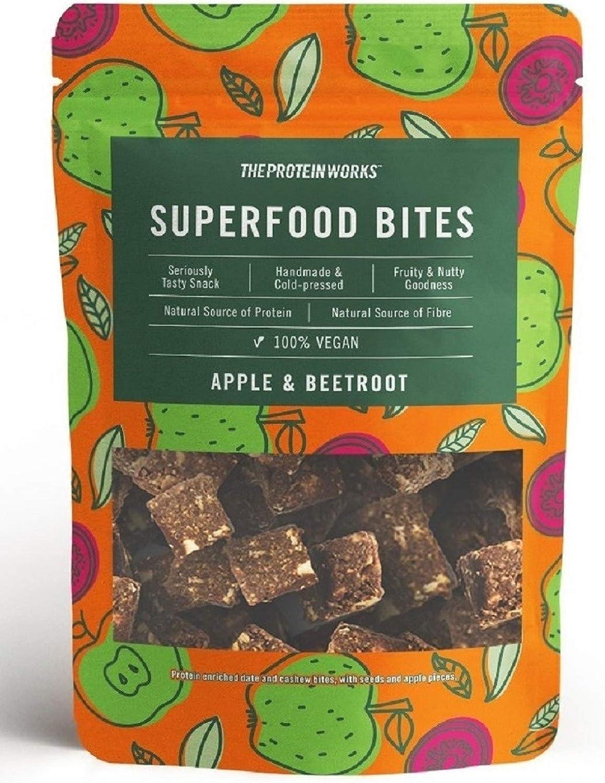 THE PROTEIN WORKS Superfood Bites | 100% Veganos | Snack Saludable y Natural | A Base de Plantas| Manzana & Remolacha | 140g