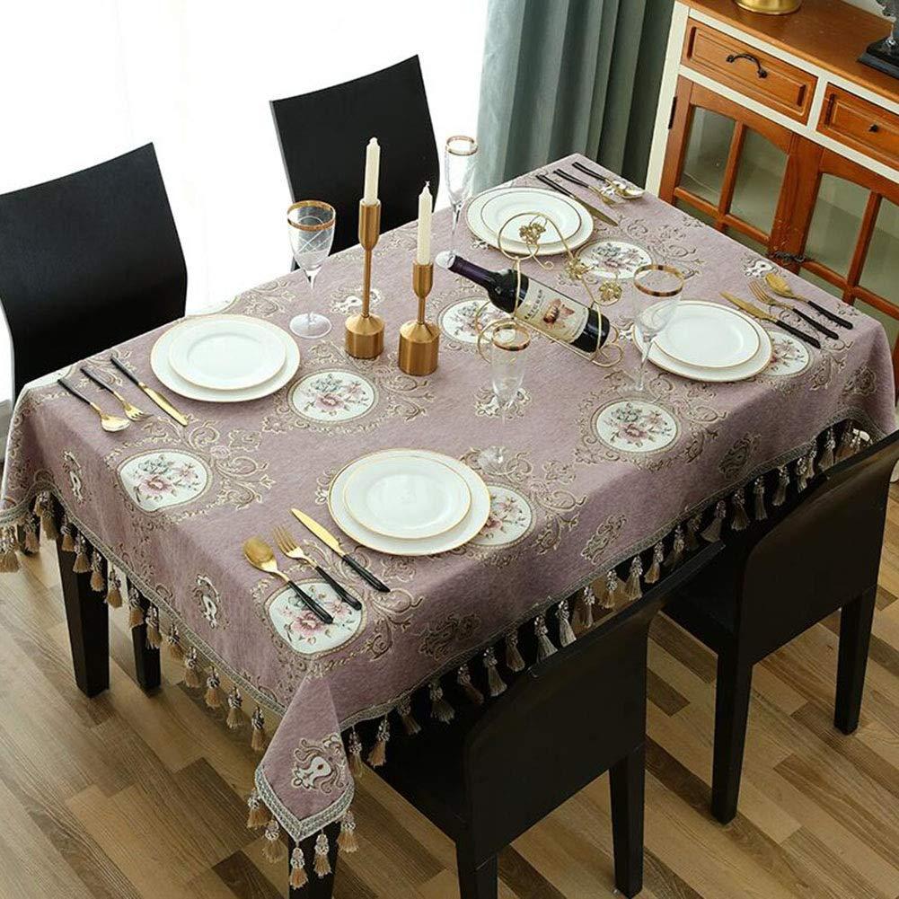QY テーブルクロス 贅沢 サテン ヨーロピアンスタイル 設計 テーブルクロス コーヒーテーブル 矩形 リビングルーム 家庭 スクエアテーブル 円形 デコレーション 集まる パーティー QY テーブルクロス (色 : 紫の, サイズ さいず : 140*180cm)   B07S8VWS9T