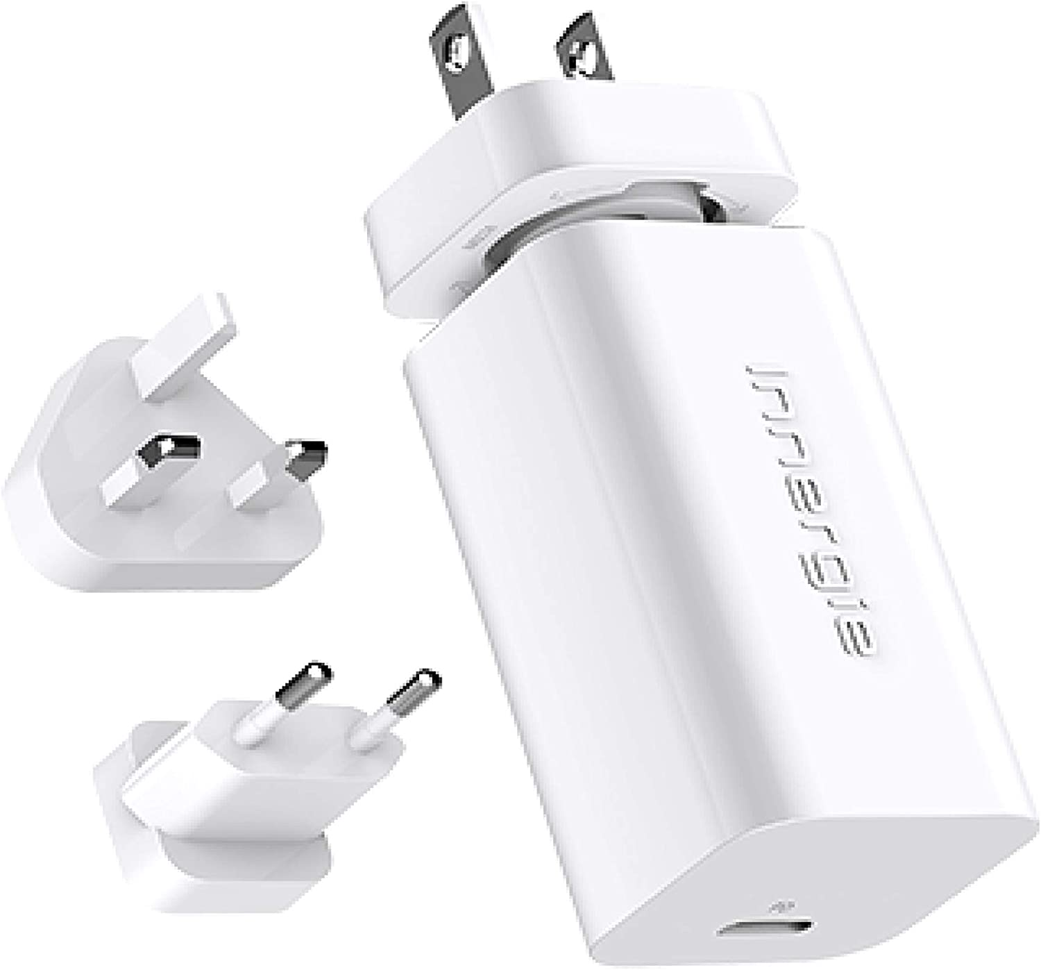 60W USB C/Type C Rapid Wall Charger, Smallest 60W USBC Powerport Laptop/Phone Power Travel Adapter, for iPhone 11/ MacBook Pro/iPad, USB PD Power Delivery, Charge Fast, Foldable Plugs [60C Int'l]