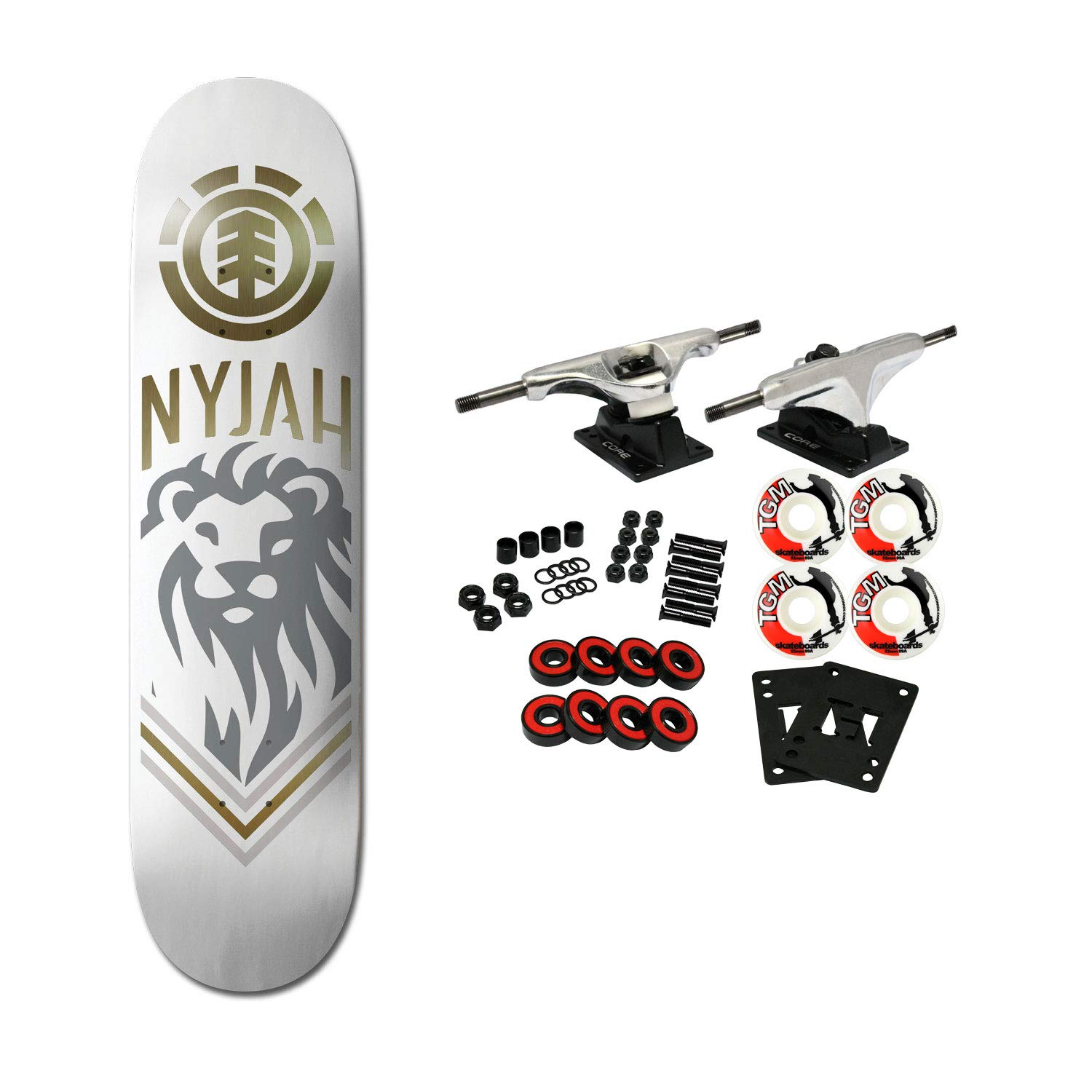 7b903eac86176 Amazon.com : Element Skateboards Complete Nyjah Huston White Lion ...