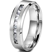 sailimue 8MM Titanium Rings for Men Band Rings Wedding Promise Size O-Z