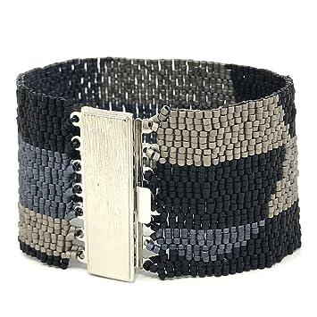 DIY Beading Kit - gris círculos pulsera de perlas, Peyote pulsera, abalorios (patrones, patrón de Peyote, DIY Kit, todos los suministros incluido: ...