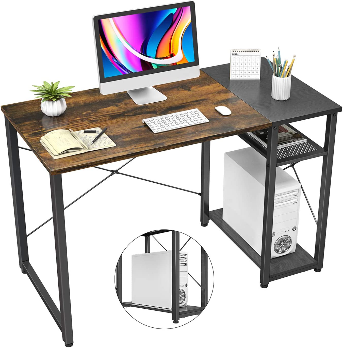 """Homfio Industrial Computer Desk with Shelves, 47"""" Home Office Desk Table with 2 Storage Shelves, Modern Sturdy Study Writing Desk for Bedroom, Rustic Brown and Black"""