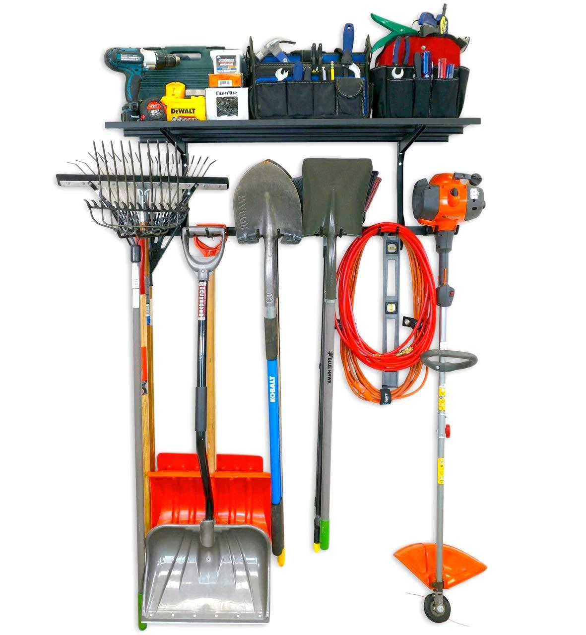 StoreYourBoard Omni Tool Rack and Storage Shelf, Home and Garage Organizer, Adjustable Wall Hanger System