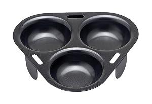 "HIC Harold Import Co. 43133 HIC Non-Stick 3-Egg Poacher Insert, PFOA and BPA Free, 15"", Black"