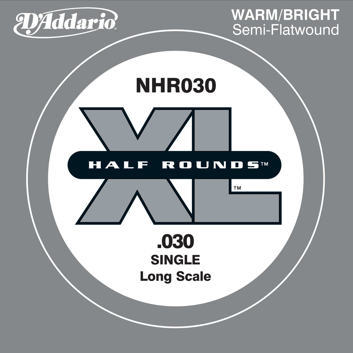 D'Addario NHR030 Half Round Bass Guitar Single String, Long Scale, .030 D' Addario
