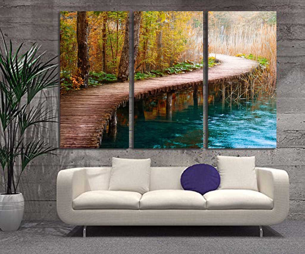 Extra LARGE Canvas Wall Art - Bridges on the Lake And Forest Tree Landscape Painting - 20x40 Inch Each Panel, 150x100 cm Total by SmartWallArt