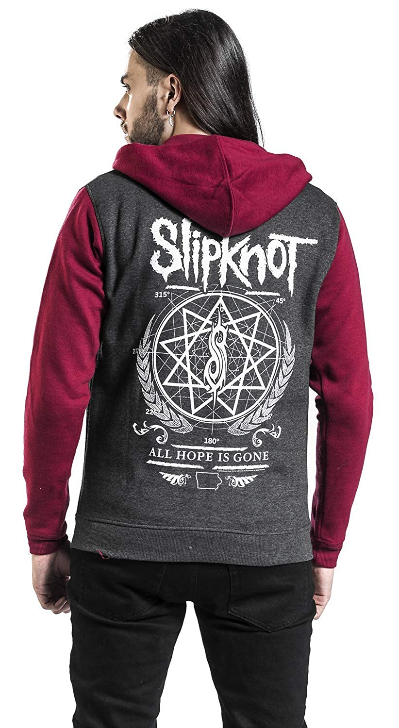 Slipknot Blurry Sweat-Shirt zipp/é /à Capuche Rouge//Gris L