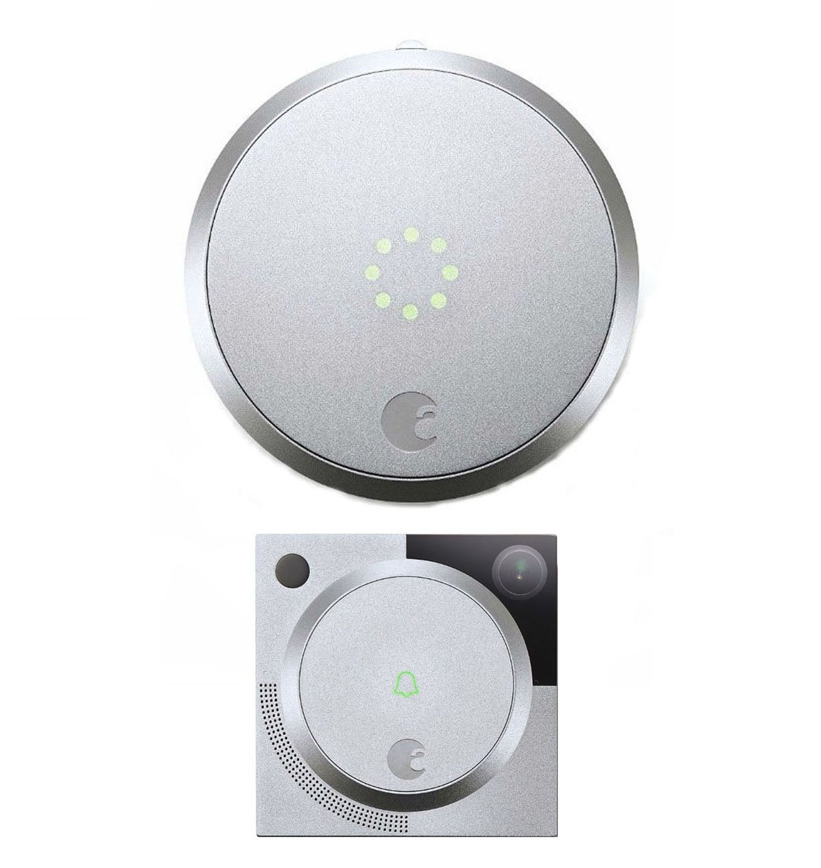 August Smart Lock Home Kit w/ Video Doorbell Cam In Silver by August