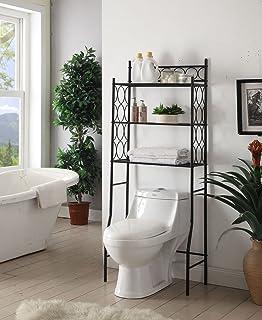 black metal 3shelf bathroom space saver storage organizer over the rack toilet cabinet shelving