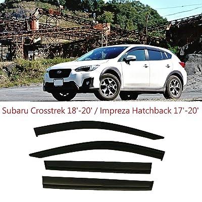 Optimal Co Smoke Black Tinted Side Window Vent Visor Deflectors Rain Guards for Subaru Crosstrek 2020 2020 2020 & for Subaru Impreza 2020 2020 2020 2020 5 Door Hatchback - 4 Piece Set: Automotive