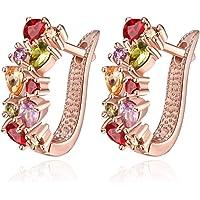 Buycitky 18K White Gold Plated Cubic Zirconia Flower Hoop Earrings for Women Girls Small Hoop Earrings Stud Fashion Earrings
