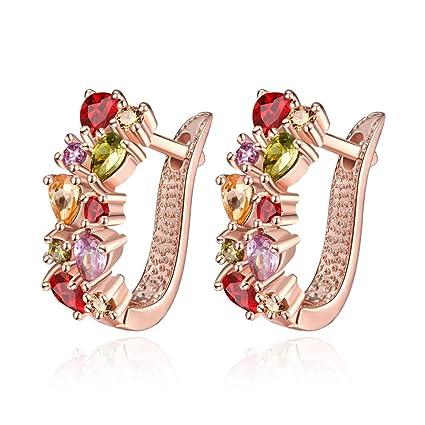 ed80ed711 Buycitky Rose Gold Plated Prongs Swarovski Crystal Stud Earrings for Women  Jewelry Multicolor Crystal Studs U