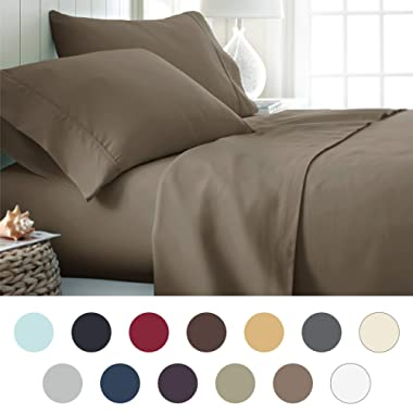 ienjoy Home Hotel Collection Luxury Soft Brushed Bed Sheet Set, Hypoallergenic, Deep Pocket, King, Taupe