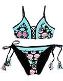GRAPENT Women's Two Piece Bikini Set Floral Print Crisscross Self Tie Swimsuit