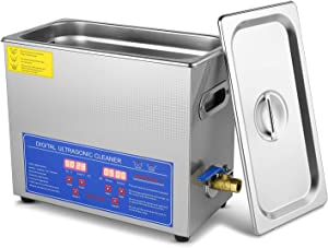 Flexzion Commercial Ultrasonic Cleaner 6L Large Capacity Stainless Steel with Heater and Digital Timer for Electronic Tool Jewelry Watch Glasses Lens Rings Dental Lab Hospital Instruments