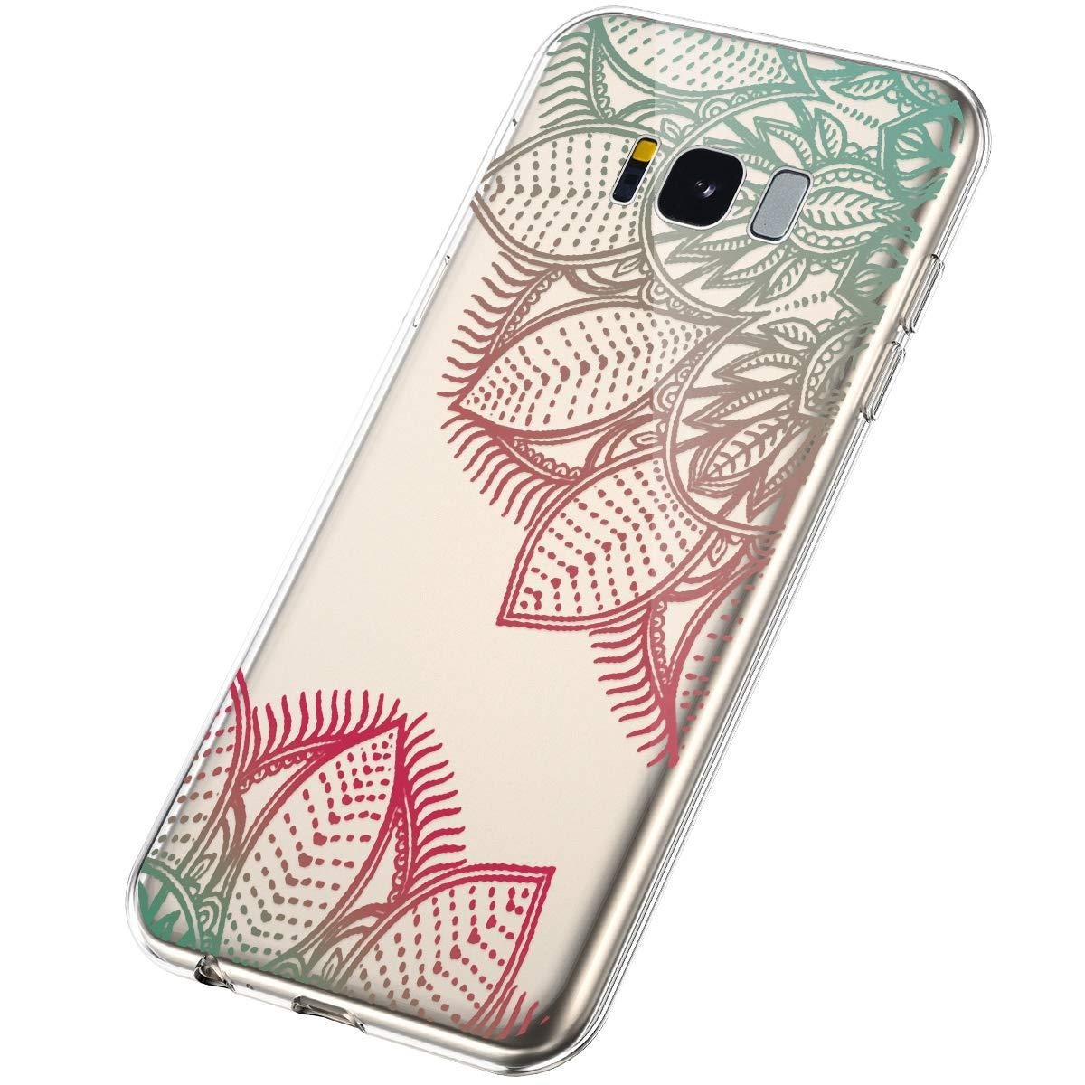 Coque Silicone Transparente Motif Mandala Ultra Slim Premium TPU Bumper Anti Choc Housse Etui Coque pour Samsung Galaxy S8-Dentelle Rose Pourpre SainCat Coque pour Galaxy S8