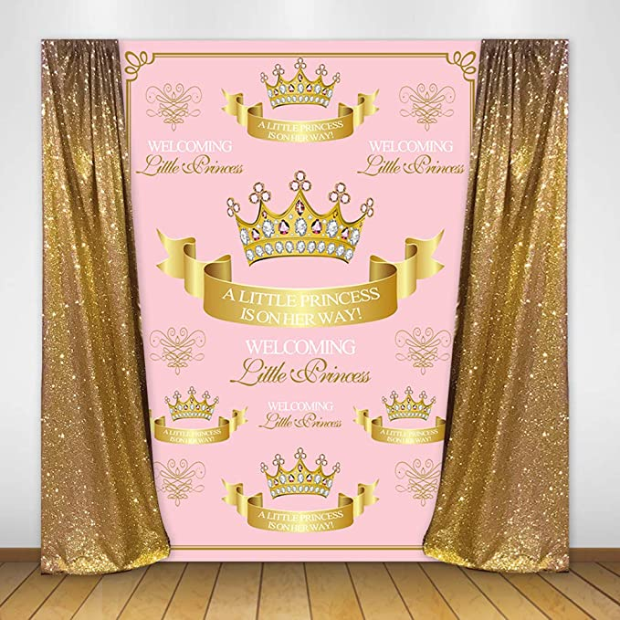 Yeele Pink Stage Curtain Photo Studio Booth Background Crown Princess Cute Ethnic Girl Baby Shower Party Decoration Banner Backdrops Props for Photography 5x3ft