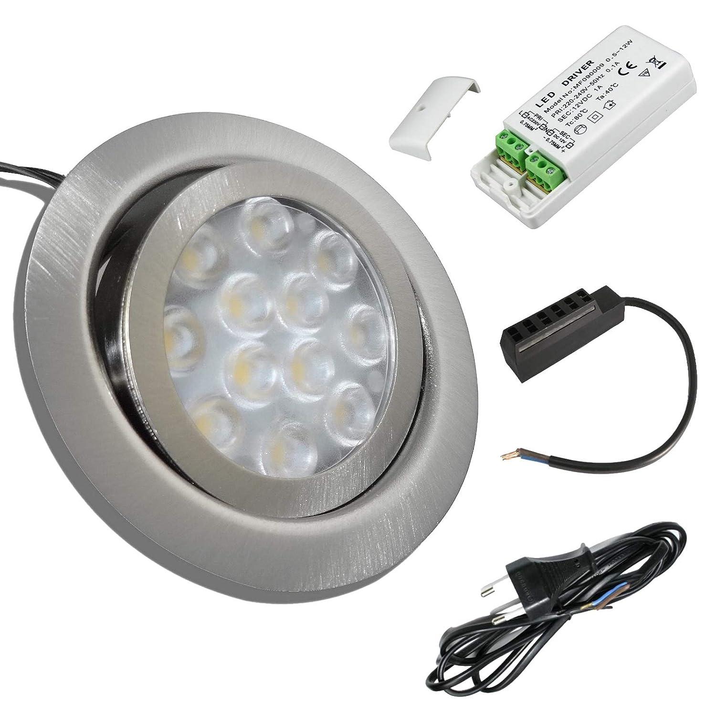 1 Stück 12 Volt LED Möbeleinbaustrahler Finja 3 Watt inkl. LED Trafo und 230 Volt Zuleitung mit Eurostecker