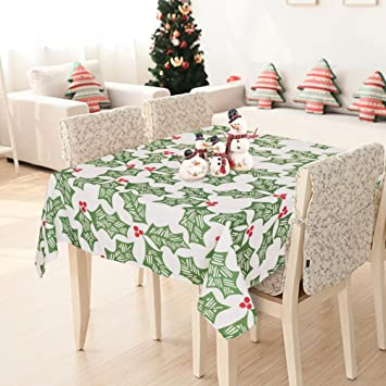 Deconovo Oxford Decorative Christmas Green Hollyleaf Printed Wrinkle  Resistant Square Tablecloth For Dining Room, 60x60