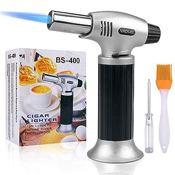 Linterna de soplar, Splaks cocina butano cocina linterna recargable butano linterna ajustable portátil encendedor de llama ...