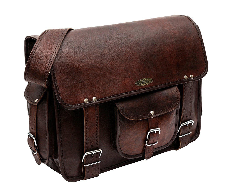 89982fc99082 ... Bag for Men - Men s Leather Messenger Bag - Genuine Handcrafted Leather  Messenger Satchel Shoulder Cross-body Bag for 15 Inch Laptop Macbook  Computer