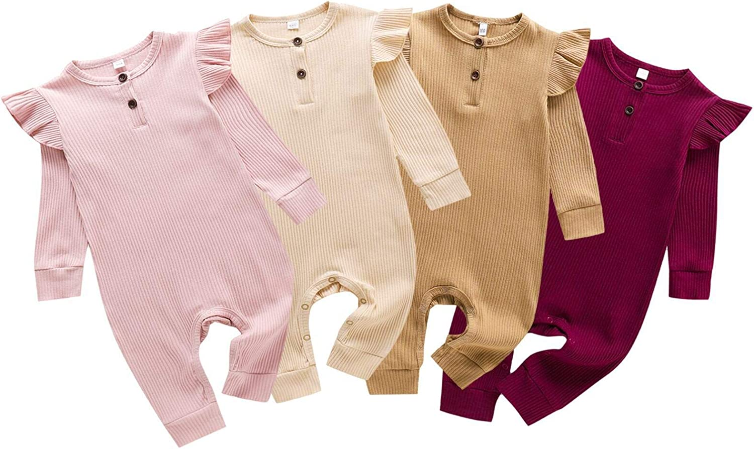 baskopa Newborn Baby Boy Girl Ribbed Knitted Romper Jumpsuit Solid Long Sleeve Bodysuit Playsuit Clothes