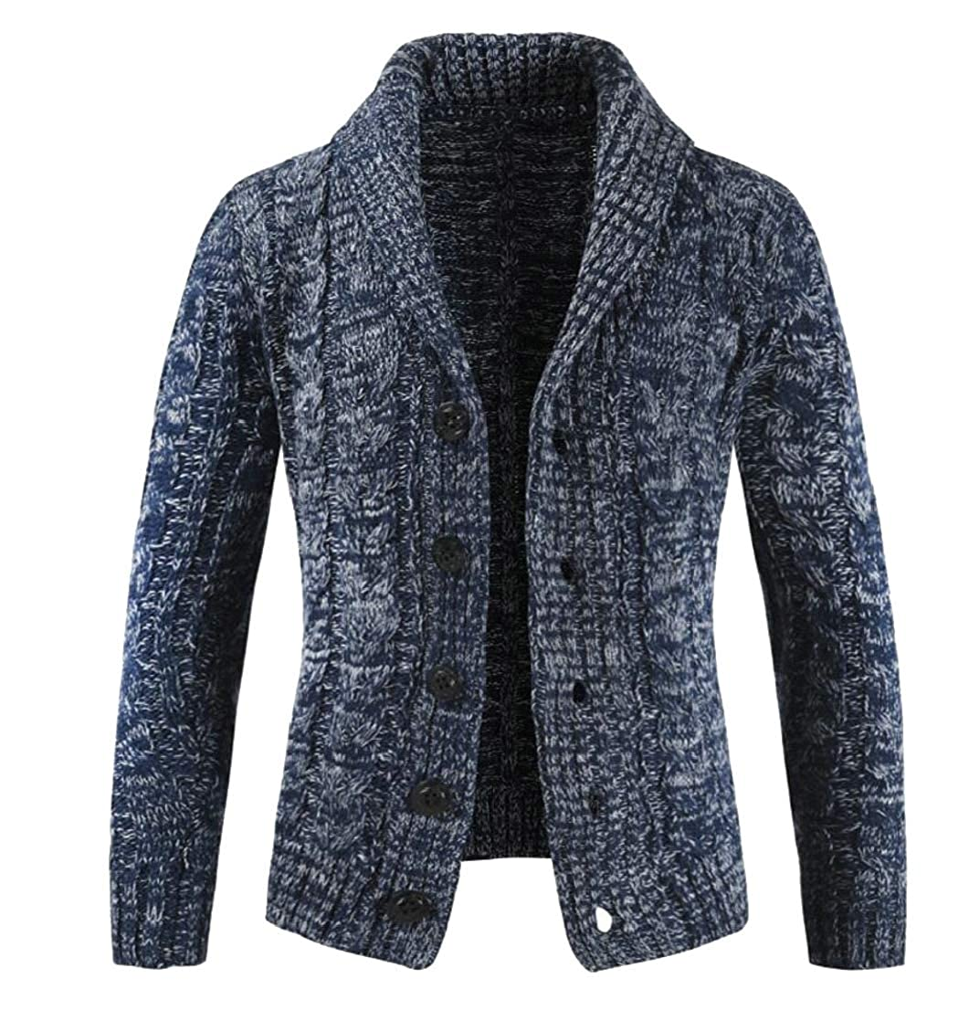 Generic Mens Casual Cable Knit Sweater Shawl Collar Button Down Cardigan Sweater