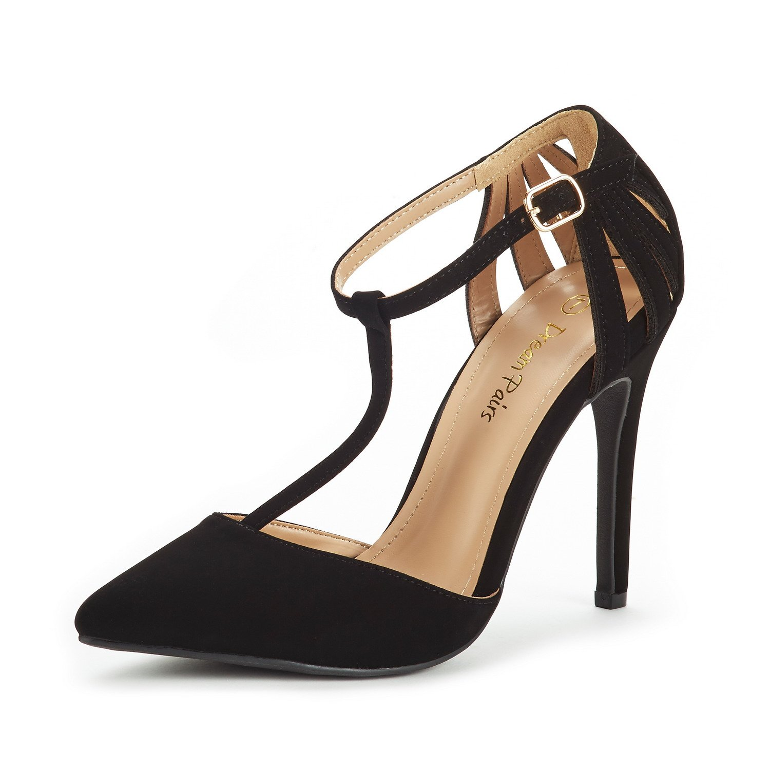 DREAM PAIRS Women's Oppointed-Mary Black Nubuck Fashion Dress High Heel Pointed Toe Wedding Pumps Shoes Size 7 M US