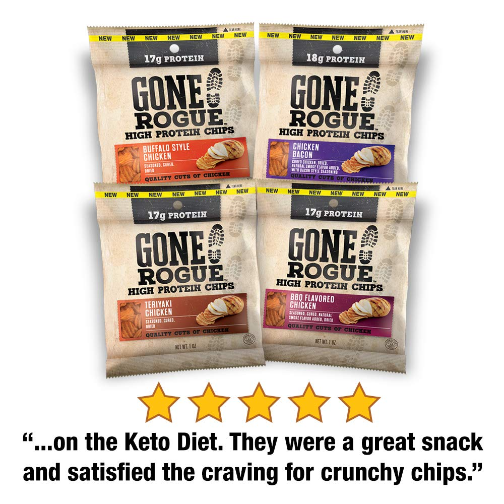 Gone Rogue High Protein Chips, Low Carb, Gluten Free Snacks - Variety Pack, 8 pack, 4 Flavors: Chicken Bacon, Buffalo Style Chicken, Teriyaki Chicken & BBQ Chicken
