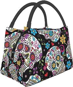 Flower Sugar Skull Lunch Box Bag Reusable Insulated Cooler Tote For Women Men Office Work Picnic Hiking Beach Fishing
