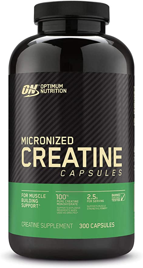 Amazon.com: Optimum Nutrition Micronized Creatine Monohydrate Capsules, Keto Friendly, 2500mg, 300 Capsules (Packaging May Vary): Health & Personal Care
